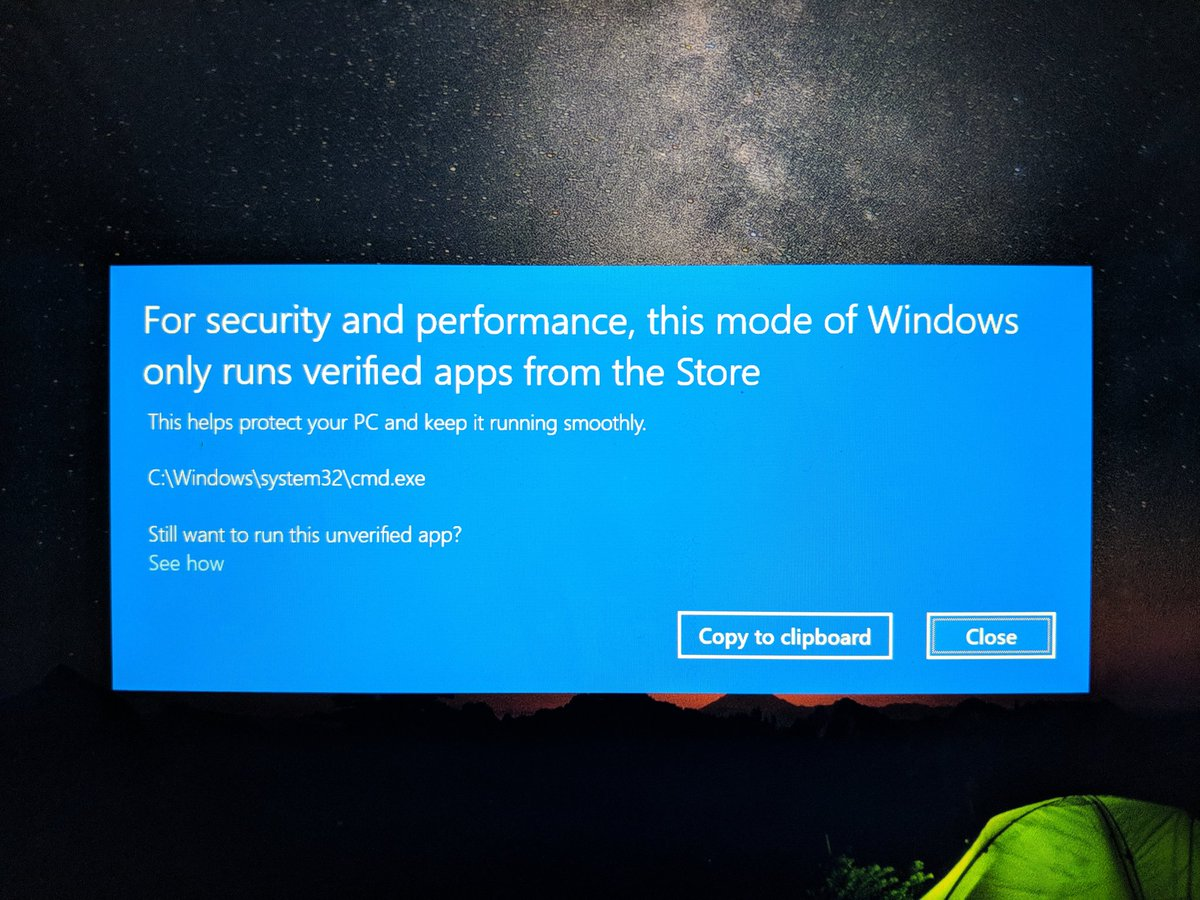 For security and performance, this mode of Windows only runs verified apps from the Store