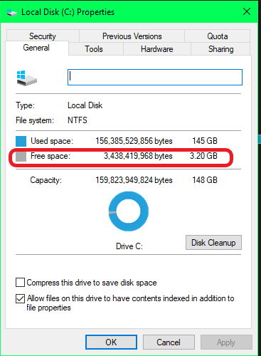 Check storage in Properties
