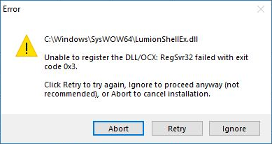 unable to register the dll/ocx regsvr32 failed with exit code 0x3