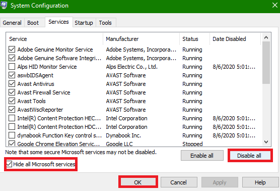 Hide microsoft processes and disable all other process and hit enter