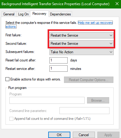 set First failure and Second failure to Restart the Service